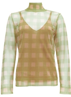 Fendi High-neck Check Knitted Top - Womens - Beige