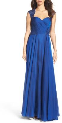 La Femme Ruched Chiffon A-Line Gown