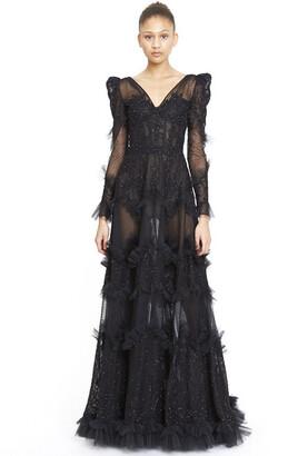 ZUHAIR MURAD Woolf Lace Mix Gown