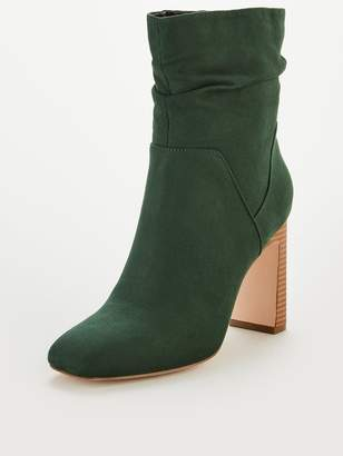 Very Rose Square Toe Slouch Heeled Calf Boots - Green