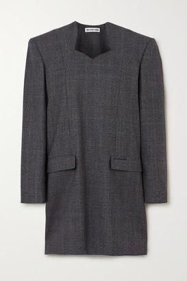 Balenciaga Oversized Prince Of Wales Checked Wool Mini Dress - Gray