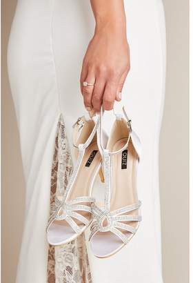 Quiz Bridal Ivory Satin Diamante T-Bar Heeled Sandals