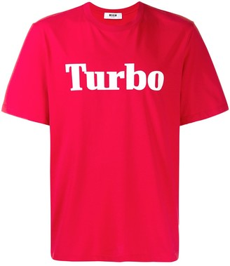 MSGM Turbo slogan print T-Shirt