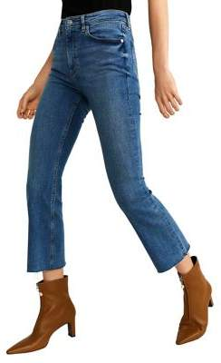 MANGO Cropped Flared Jeans