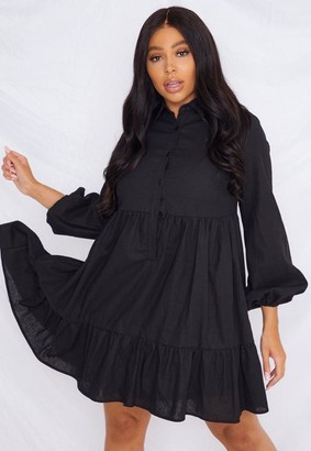 Missguided Plus Size Black Linen Look Smock Dress