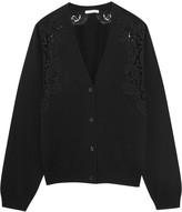 Chloé Crochet-paneled cashmere cardigan