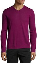 Neiman Marcus Wool V-Neck Modern-Fit Sweater, Magenta
