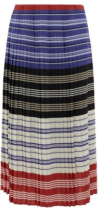 Altuzarra Halyard Pleated Striped Crepe Midi Skirt - Womens - Red Stripe