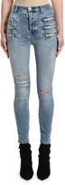 Unravel Bleached Triple-Zip Skinny Jeans