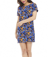 AX Paris Blue & Yellow Abstract Shift Dress