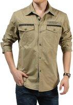 Insun Men's Solid Cotton Long Sleeve Button Down Shirt 5XL