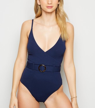 New Look Belted Crinkle Wrap Swimsuit