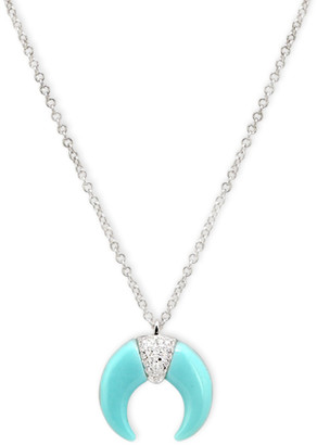 AUGUST & JUNE Turquoise and Diamond Crescent Choker