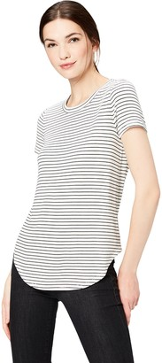 Daily Ritual Women's Supersoft Short-Sleeve Shirttail T-Shirt Shirt stripe black/white skinny stripe XXL