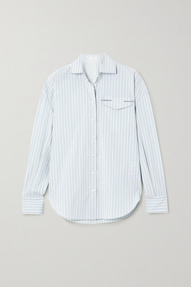 Brunello Cucinelli Bead-embellished Striped Cotton-blend Oxford Shirt - Mint