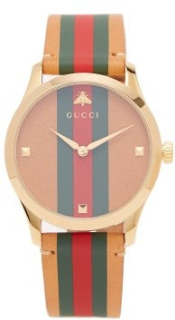 Gucci G-timeless Web-striped Leather Watch - Womens - Light Brown