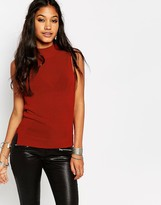 Glamorous High Neck Sleevless Knitted Top With Split Sides