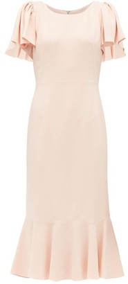 Dolce & Gabbana Fluted-hem Cady-crepe Midi Dress - Womens - Pink