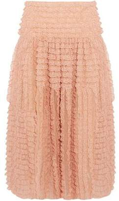 Chloé Ruffled Lace-appliqued Silk-organza Midi Skirt