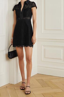 Alice + Olivia - Ellis Cotton-poplin And Grosgrain-trimmed Corded Lace Mini Dress - Black