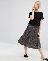 Monki Ditsy Floral Print Midi Skirt
