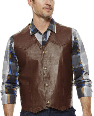 VINTAG HairE LEATHER Snap-Front Leather Vest