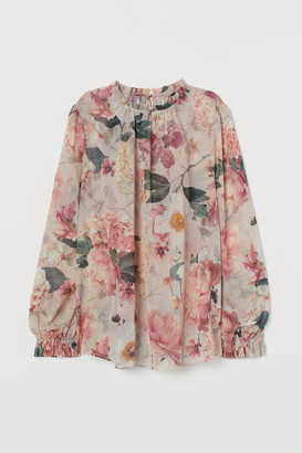 H&M Creped Chiffon Blouse - Brown
