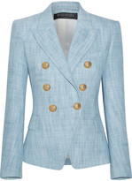 Balmain Cotton-blend Tweed Blazer - Light blue