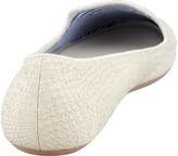 Charles Phillip Shanghai Lizette Python-Embossed Slip-On Loafer, White