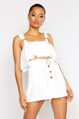 boohoo Belted Horn Button Paper Bag Shorts