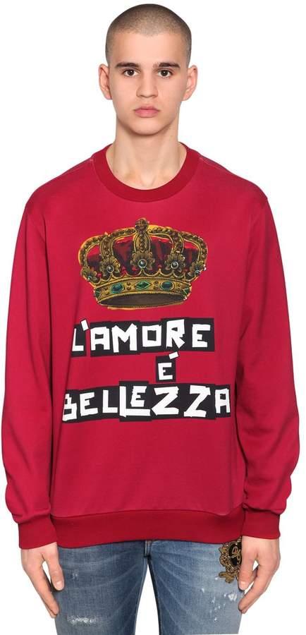 Dolce & Gabbana Crown Printed Jersey Sweater