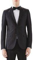 Gucci Black Emerald Pattern Jacquard Evening Jacket