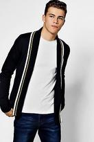 boohoo Mens Edge To Edge Knitted Cardigan With Stripe Detail