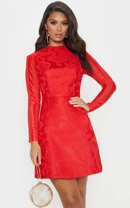 PrettyLittleThing Red Bonded Patterned Mesh Sleeve Skater Dress