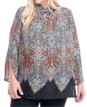 Fever Plus Size Printed Tie-Neck Tunic