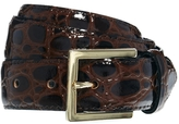 Croc Print Patent Leather Waist Belt With Gold Buckle