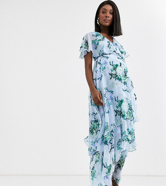 Asos DESIGN Maternity cape back dipped hem maxi dress in blue floral print