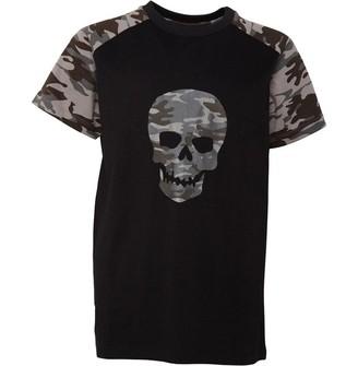 Fluid Junior Boys Camo Skull Print T-Shirt Black