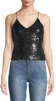 Alice + Olivia Delray Embellished Sequin Tank Top