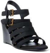 Ralph Lauren Aleigh Nubuck Wedge Sandal Black 6.5