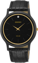 Seiko Mens Diamond-Accent Black Leather Strap Solar Watch SUP875