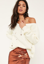 Missguided White Distressed Off The Shoulder Sweater