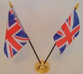 United Kingdom Union Jack 2 Flag Desktop Table Display With Gold Base by Flag Co
