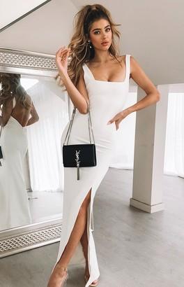 The Edit Rosette Formal Dress White