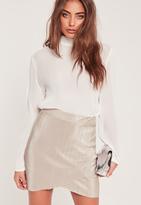 Missguided Crinkle Overlay Mini Skirt Grey