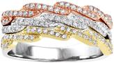 1/2 CT TW Diamond 10K Tri-Tone Gold Anniversary Stackable Ring by Moda Di Oro