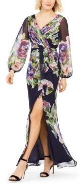 Adrianna Papell Floral-Printed Chiffon Gown