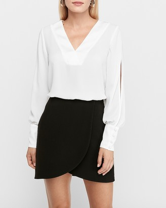 Express High Waisted Wrap Front Mini Skirt