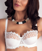 Samanta White Embroidered-Trim Guipure Lace Kerk Full-Fit Bra - Plus Too