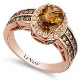 LeVian 0.68TCW Diamonds, Quartz and 14K Rose Gold Chocolatier Ring